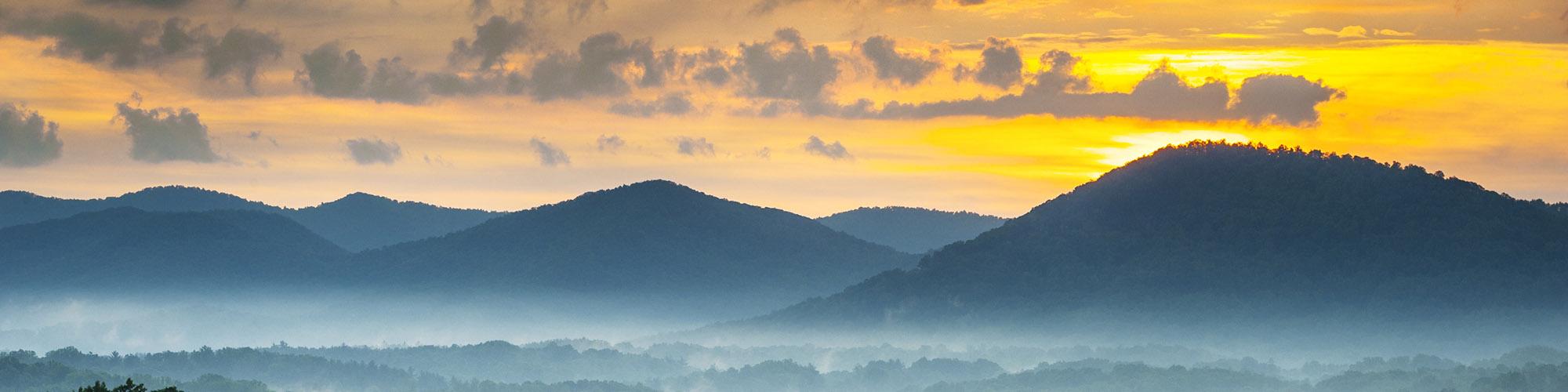 Asheville NC Blue Ridge Mountains Sunset and Fog Landscape Photography near the Blue Ridge Parkway in Western North Carolina