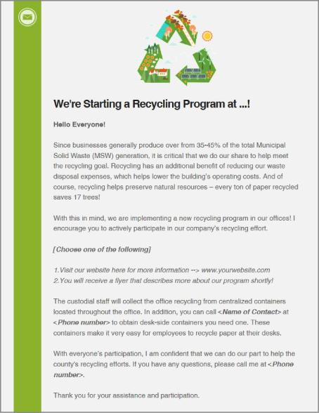 recycling kickoff memo template