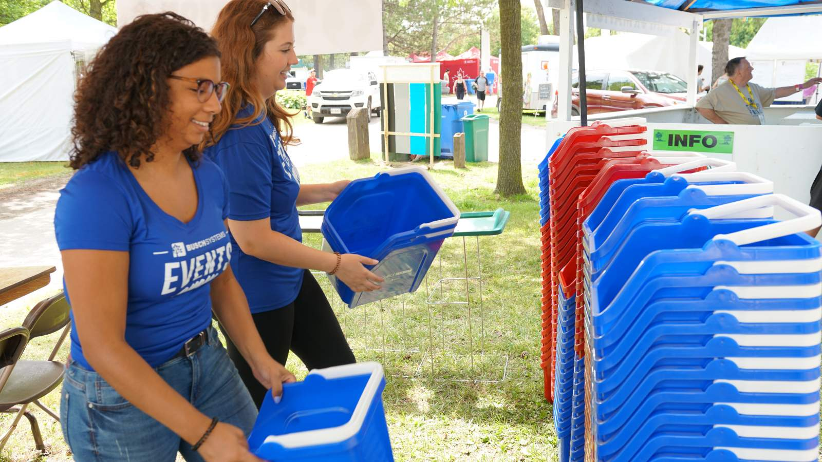 Busch Systems Waste Diversion Team helping set up Pollution Solution Tent