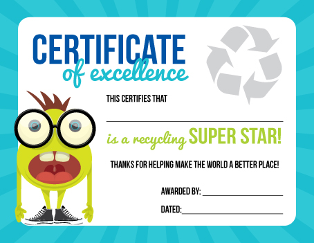 Certificate Of Recycling Excellence
