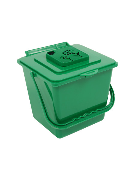 KITCHEN COMPOSTER   KC1000   VENTED LID, FLOWER CAGE W/FILTER   COMPOST  GREEN
